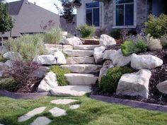 stein treppe und pflanzen im garten - moderne haus geastaltung - 53 erstaunliche Bilder von Gartengestaltung mit Steinen