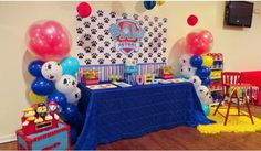 Cake table for Noels Paw Patrol Party Paw Patrol Birthday Decorations, Paw Patrol Birthday Theme, 4th Birthday Parties, 2nd Birthday, Birthday Ideas, Cumple Paw Patrol, Paw Patrol Cake, Cake Table, Sunsets