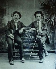 Virgil Walter Earp, Morgan Seth Earp, LtoR. Original image from the collection of P. W. Butler.