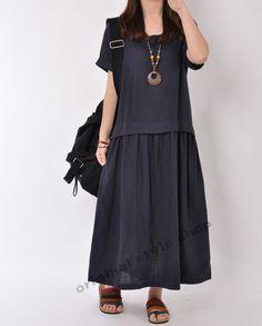 Dark Blue Linen dress maxi dress short sleeve by originalstyleshop, $56.99
