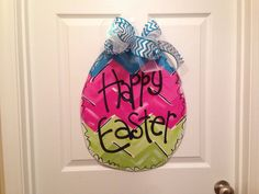 Chevron Easter Egg Door Hanger Happy Easter by YoungLoveDecor, $35.00