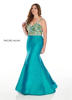 Style 7221 from Rachel Allan Curves is a taffeta plus size mermaid gown that has a beaded bodice and sheer straps on the back.