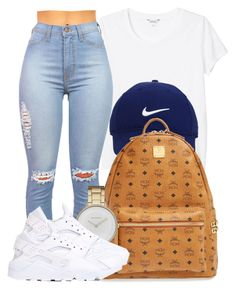 """11:30 pm."" by bria-myell ❤ liked on Polyvore featuring Monki, Nike Golf, MCM, Skagen and NIKE"