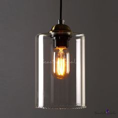 1-Light Mini-Pendant Light with Cylindrical Shade in Clear Glass