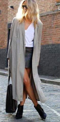 Maxi coat and leather skirt