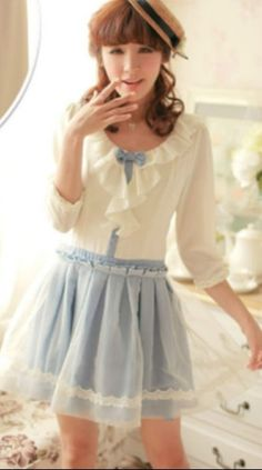 Classic casual Lolita dress white and blue