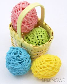 Hollow Chocolate Easter Eggs - Here's an edible twist on an Easter egg craft that normally uses yarn and glue. Melted chocolate drizzled over a balloon creates a decorative hollow egg that's good enough to eat. For an added bunny bonus, you can even hide candy inside!