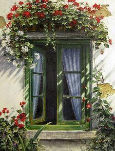 Flowers decorate window