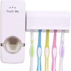 Touch Me Plastic Toothbrush Holder(White, Wall Mount)