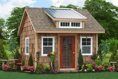 outdoor garden shed with cedar shakes