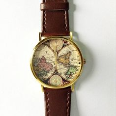 Relógio vintage mapa marrom escuro - Produto 578192 | AIRU
