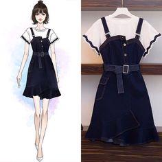 French Fashion Tips .French Fashion Tips Fashion Drawing Dresses, Fashion Illustration Dresses, Korean Fashion Dress, Asian Fashion, Look Fashion, Girl Fashion, Fashion Dresses, Fashion Today, 70s Fashion