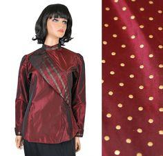 Vintage Taffeta Blouse Sz S Dark Red Burgundy Gold Striped Polka Dot Dress Shirt NWT NOS Free US Shipping by HepCatClothes on Etsy