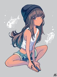 1girl brown_hair dark_skin denim denim_shorts fish_bone grey_background hat highres hime_cut long_hair looking_at_viewer midriff nanakawa_(nanasoon) original sandals shorts simple_background sitting sleeveless solo tank_top unbuttoned