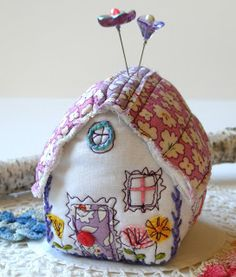 sweet pincushion - a little cottage made from pretty scraps and notions odds-and-ends