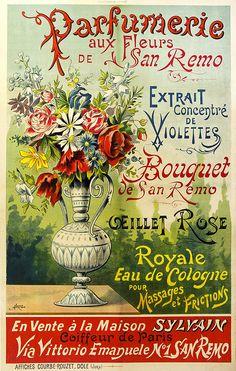 1897 Oeillet Carnation Vintage French Nouveau France Poster Print Advertisement