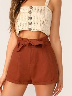 To find out about the Paperbag Waist Cuffed Hem Belted Shorts at SHEIN, part of our latest Shorts ready to shop online today! Crochet Clothes, Diy Clothes, Clothes For Women, Belted Shorts, Cotton Shorts, Denim Shorts, Denim Cotton, Diy Vetement, Sewing Projects