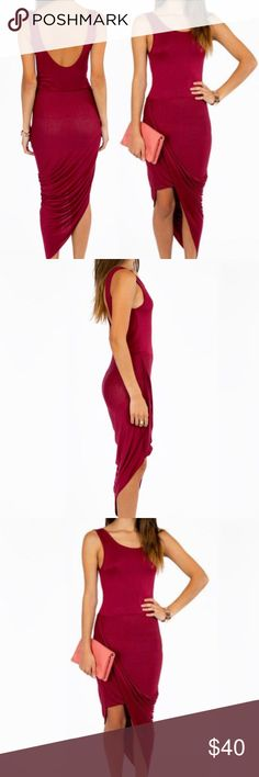 "TOBI Burgundy ""Split Ends"" A-Line Dress - SIZE L BRAND NEW, NEVER WORN! TOBI burgundy / maroon ""Split Ends"" A-Line maxi dress. 96% rayon, 4% spandex. Stretchy, comfortable and lightweight! SOLD OUT ONLINE!  Tag brand: Vijo Couture, purchased off Tobi.com Tobi Dresses Asymmetrical"