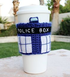 I found 'TARDIS Police Box Time Machine Spacecraft Inspired Coffee Travel Mug Cup Cozy: Doctor Who / Dr. Who -ish Video Game Crochet Knit Sleeve' on Wish, check it out!