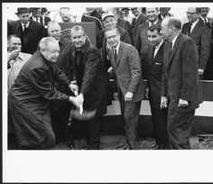 Alden Library groundbreaking ceremony, ca. 1966. President Alden is in the center of the line of men. :: Ohio University Archives