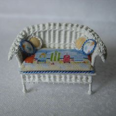 Quarter scale miniature wicker loveseat by CherylHubbardMinis on Etsy Beach Cabana, Beach Scenes, Yellow Stripes, Cheryl, Seat Cushions, Summer Fun, Wicker, Love Seat, Hand Weaving