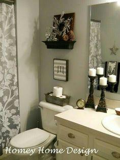 homey home design: Striped Ceiling cute for a condo or apartment Bad Inspiration, Bathroom Inspiration, Striped Ceiling, Light Grey Walls, Bath Decor, Small Bathroom, Bathroom Ideas, Earthy Bathroom, Half Bathrooms