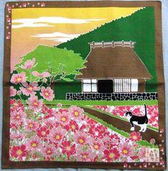 Japanese Wrapping Cloth Small Furoshiki 50x50cm Walkies Cat Cosmos Kyoto