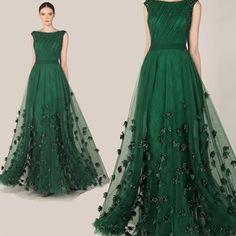 Moda elegante Zuhair Murad vestido verde esmeralda Tulle largo del A-Line Cap manga de la flor vestido de noche de baile vestido de Red Carpet 2014