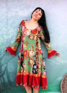 L-XL garden flower colorful recycled appliqued dress by jamfashion
