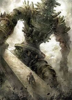 Safebooru - battle climbing club colossus epic gaius game console giant male focus playstation 2 running scabbard shadow of the colossus sheath surcoat sword wander weapon Bioshock, Video Game Art, Amazing Art, Awesome, Fantasy Creatures, Best Games, Fan Art, Videogames, Fantasy Art