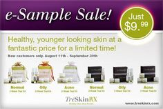 TreSkinRX 2 week trial #sale happening now! All skin types- normal/dry, oily, acne. only $9.99!