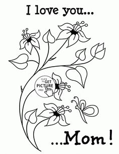 Cute Flowers with Love - Mother's Day coloring page for kids, coloring pages printables free Mothers Day Coloring Sheets, Mothers Day Coloring Pages, Coloring Pages To Print, Coloring Book Pages, Printable Coloring Pages, Coloring Pages For Kids, Kids Coloring, Craft Activities For Toddlers, Kids Crafts