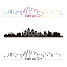 Illustration of Kansas City skyline linear style with rainbow in editable vector file vector art, clipart and stock vectors. Kansas City Skyline, Kansas City Missouri, Vector File, Vector Art, Skyline Tattoo, City Quotes, Life Tattoos, Tatoos, Dream Tattoos