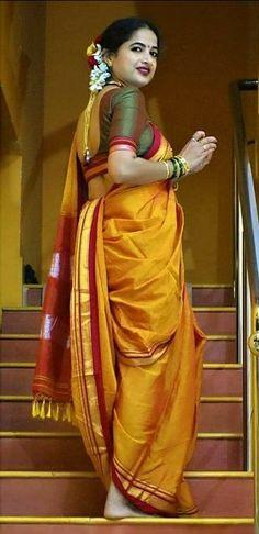 Marathi Saree, Marathi Bride, Kashta Saree, Saree Dress, Silk Sarees, Beautiful Saree, Beautiful Indian Actress, Indian Look, Indian Wear