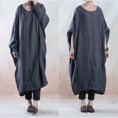 Casual loose fitting linen long sleeve dress - Buykud  - 1