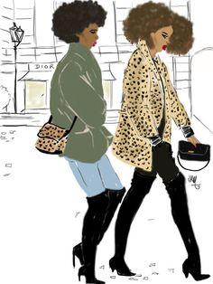 Afro girl Walking in Paris Street par Nikisgroove sur Etsy