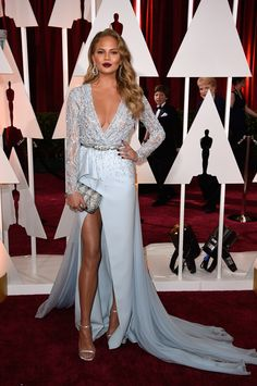 Oscars 2015 Chrissy Teigen Dress by Zuhair Murad. Pale Blue Dresses, Nice Dresses, Oscar Dresses, Prom Dresses, Woman Dresses, Graduation Dresses, Fashion Dresses, Wedding Dresses, Chrissy Teigen Dress