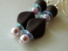 Brown and Pink dangle Earrings by gr8byz on Etsy, $9.00