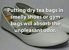 Tea bags in smelly shoes