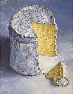 """""""Eidolon"""" - #cheeseportrait painting: This is a cow milk, bloomy-rind cheese from Martha's Vineyard, created at The Grey Barn Farm. This beautiful wheel was passed on to me from Madame Fromage, she's such a great friend! I was immediately struck by how tall the wheel was and alluringly cake-like. It became a Wayne Thiebaud homage from the moment I saw it. #cheeseart #cheese #art #painting  #cheesepainting #foodart"""