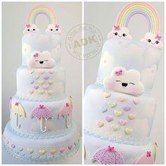 Baby Cakes, Baby Shower Cakes, Girly Cakes, Cupcake Cakes, Birthday Cake Girls, Rainbow Birthday, Unicorn Birthday Parties, Cloud Party, Cloud Cake