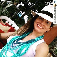 Divina nuestra amiga luciendo #kaaxil #bygabyflores #modadominicana #ModaElSalvador #hechopormanossalvadoreñas #handmadenecklace #Repost @lolitamarcano02 ・・・ Sunday! #sunandpool #sunday #republicadominicana #panamahat