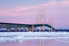Winter Mackinac Bridge Photograph  - Winter Mackinac Bridge Fine Art Print