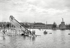 "Cincinnati circa 1910. ""Chester Park -- toboggan slide on the lake."""