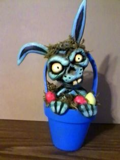 zombie rabbit craft I made for easter