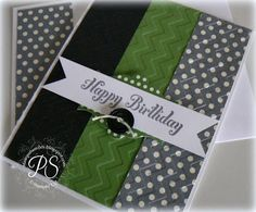 Chevron embossing adds depth to this handmade birthday card with cool green and black colors.