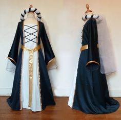 déguisement robe médiévale et coiffe - Création et confection de vêtements sur mesure et d'accessoires personnalisés. robes de cocktail et de soirée, robes de mariée, cortèges.