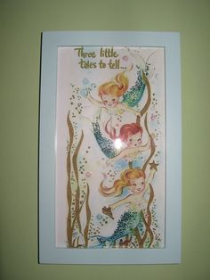 Mermaid Nursery Décor: Vintage/Retro Mermaid Art Print Wall Decor