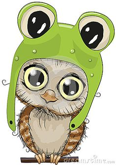 Illustration about Cute cartoon owl in a frog hat on a white background. Illustration of expressing, card, cute - 60046946 Cartoon Owl Drawing, Owl Cartoon, Cute Cartoon, Owl Clip Art, Owl Art, Owl Vector, Free Vector Art, Bird Coloring Pages, Owl Pictures