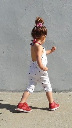 Dotted sunsuit with sneaks.
